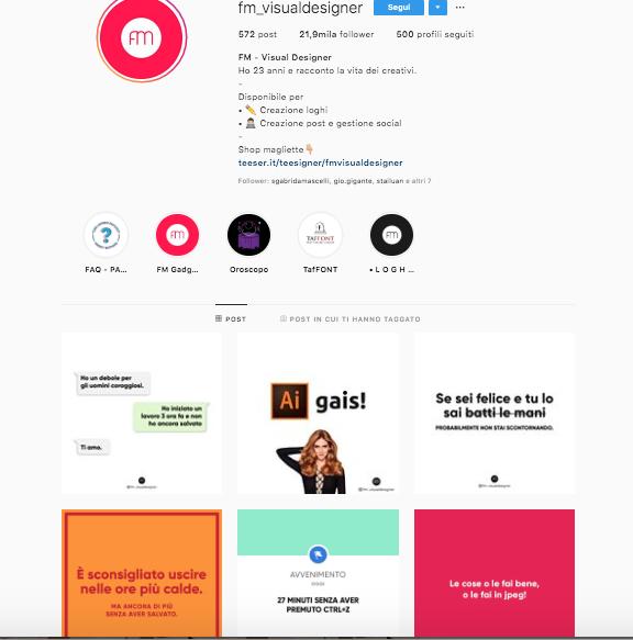 chi seguo su instagram? profili da seguire per aggiornare il vostro feed @fm_visualdesigner