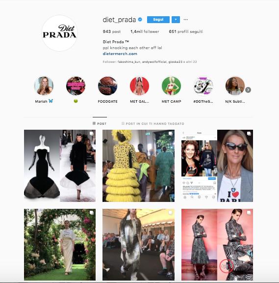 profili da seguire per aggiornare il vostro feed @dietprada